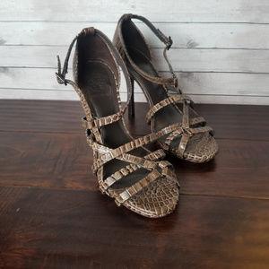 Tory Burch Elizabella Brown Croc Strappy Heels 7.5